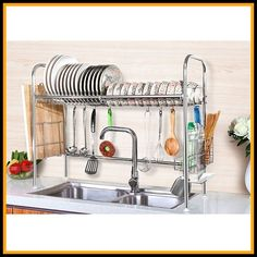 NEX Dish Drying Rack Stainless Steel Dish Storage with Chopstick Holder Over-the sink dish drainer rack! Dish Storage, Kitchen Cabinet Storage, Kitchen Organization, Storage Organization, Storage Ideas, Organizing, Shelving Ideas, Shelves, Storage Hacks