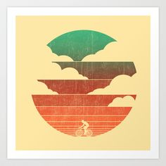 Go West (cycling edition) Art Print by Budi Satria Kwan - $19.97