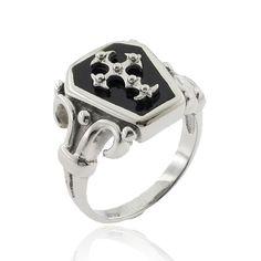 black+coffin+ring+size+8 | Stainless Steel Cross Coffin Cut Black Stone Mens Ring | eBay