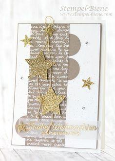 stampin up sterntalerkarte, stampinup weihnachtskarte, stamp-bee, stampin up . Stampin Up Christmas, Christmas Cards To Make, Handmade Christmas, Christmas Crafts, Paper Cards, Diy Cards, Stampin Up Weihnachten, Winter Karten, Star Cards