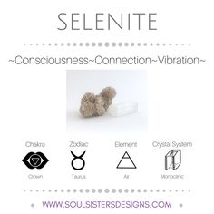 Metaphysical Healing Properties of Selenite, including associated Chakra, Zodiac and Element, along with Crystal System/Lattice to assist you in setting up a Crystal Grid. Go to https:/wwwsoulsistersdesigns.com to learn more!