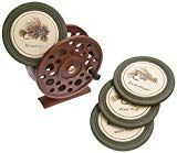The Fly Reel Coaster Set features four hunter green and ivory coasters each depicting a different hand tied fly. This stunning set includes a holder resembling a fly fishing reel. Measures x x 5 Fly Reels, Fishing Reels, Fishing Tips, Fly Fishing, Fishing Basics, Fishing Stuff, Fishing Quotes, Saltwater Fishing, Fish Home