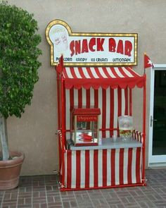 how to build an outdoor theater DIY backyard theater: PVC Snack Bars and Lemonade Stand Circus Carnival Party, Carnival Birthday Parties, Carnival Themes, Circus Birthday, Party Themes, Circus Theme, Carnival Booths, Carnival Tickets, Party Ideas