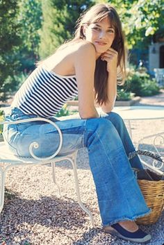 Jane Birkin c.1970s - stripes and denim flares