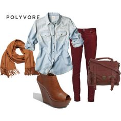 Cute Outfit for Fall, but I'd wear boots instead, yes, boots, gotta have boots... :)