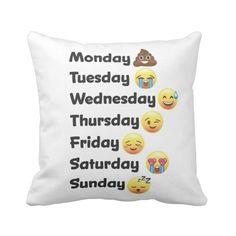 Day of the Week Emoji Face Pillow ($36) ❤ liked on Polyvore featuring home, home decor and throw pillows
