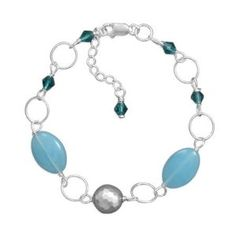 Amazon.com: Blue Jade and Crystal Bracelet with Hammered Silver Bead Sterling Silver Adjustable Length: Jewelry