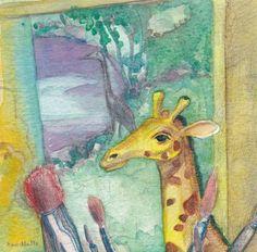 Giraffe in my studio, Corina Willette