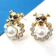 $6 Skull Skeleton Bones Pearl Rhinestone Stud Earrings in Gold