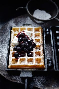 Blueberry Waffles | Butter and Whipped Cream | Cast Iron Waffle Maker