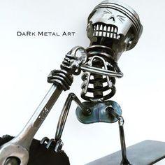 Bonez the Handy Man by TheDaRkMetalArtStore on Etsy Welding Art Projects, Metal Projects, Metal Crafts, Welding Ideas, Heavy Metal Art, Scrap Metal Art, Arte Robot, Robot Art, Reclaimed Building Materials