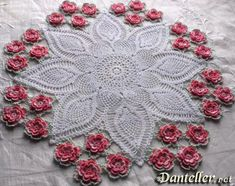 Beautiful example of crochet lace with flowers.