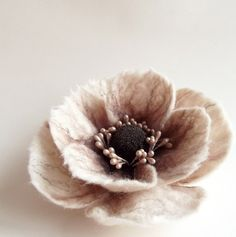 "Items similar to Hand Felted Flower Brooch, Wool Felt Jewelry ,Felted Flower ,Poppy Pin in Neutral & Browns ""A little bit different poppy""(MADE TO ORDER) on Etsy Needle Felted, Wet Felting, Felted Wool Crafts, Felt Crafts, Brooches Handmade, Handmade Flowers, Felt Flowers, Fabric Flowers, Poppy Pins"