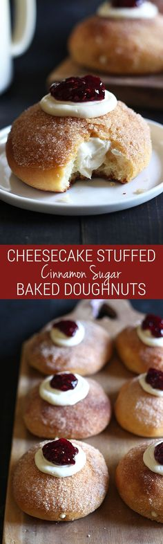 Cheesecake Stuffed Baked Doughnuts feature a fluffy yeast-raised baked doughnut coated in cinnamon sugar, stuffed with sweetened cream cheese, and topped with a dollop of raspberry jam. | Handle the Heat