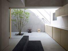 indoor outdoor kitchen. continuous rendered concrete