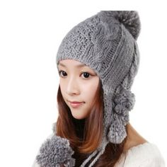 $6.02 Sweet Little Ball Embellished Solid Color Knitted Bomber Hat For Women
