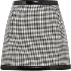 Philosophy di Lorenzo Serafini Faux leather-trimmed houndstooth wool... ($355) ❤ liked on Polyvore featuring skirts, mini skirts, short wool skirt, short skirts, woolen skirt, wool skirt and short mini skirts
