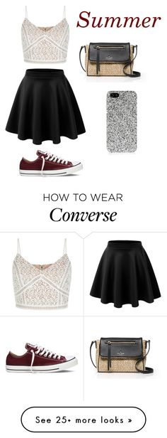 """Untitled #170"" by dionnalasha18 on Polyvore featuring New Look, Kate Spade, Converse, Yves Saint Laurent, summerishere and strawbags"