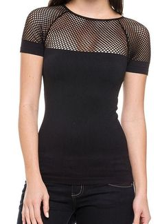 Sexy Black Net Cut Out Moto Biker Backless Mesh Rave Glam Seamless Top New o/s #OTHER #KnitTop #Casual