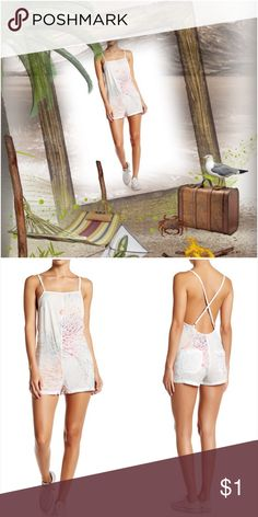 """Obey Plastic Isle Playsuit White Multi in color; square neck; sleeveless; allover print; adjustable straps; crossback straps; approx. meas. 1.5"""" inseam, 31"""" length; TTS. Eye-It...Buy-It✌🏾️ Obey Pants Jumpsuits & Rompers"""
