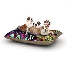 """Gabriela Fuente """"Crazy Day"""" Rainbow Abstract Dog Bed"""