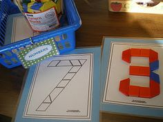 Making numbers with shapes. Could do with letters too.