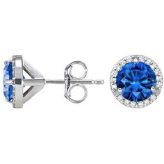 18K White Gold Luxe Sapphire Halo Diamond Earrings (91 700 UAH) ❤ liked on Polyvore featuring jewelry, earrings, 18 karat gold earrings, 18k earrings, sapphire diamond earrings, white gold jewelry and sapphire earrings