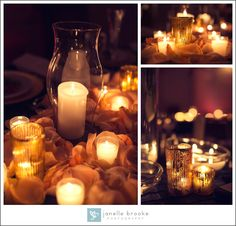 Stacey & Frank's Wedding at the Bourne Mansion / Janelle Brooke Photography / Figgie Shoes / Amanda Barbara Events / Jessica Leigh Paperie / centerpieces / table settings / mansion wedding /  navy gold wedding theme / mercury glass candles / floating candles / rose petals
