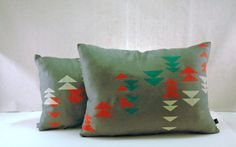 Grey Linen Rectangular Pillow with Neon Alpine by appetitehome - this can't be hard to do with stencilling.