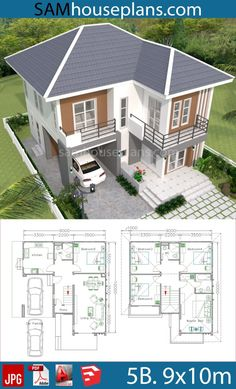 15 5 Bedroom House Plans 5 Bedroom House Plans - 5 Bedroom Luxurious Bungalow floor plan and View House design plan 9 with 5 bedrooms House design idea 5 w. 5 Bedroom House Plans, House Plans Mansion, Sims House Plans, House Layout Plans, Duplex House Plans, Dream House Plans, House Layouts, Dream Houses, Modern House Floor Plans