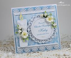 Monia Jot's Gallery with Layouts, Projects and Photos. First Communion Cards, Baptism Cards, Christening Card, Card Making Designs, Christian Cards, Handmade Card Making, Cricut Cards, Xmas Cards, Flower Cards