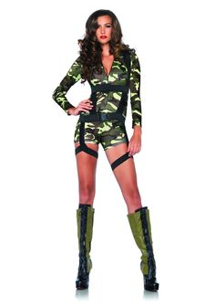 Catwoman Costume Goin Commando Adult Costume Small - Goin Commando Adult Costume Small : Zipper-front spandex romper with camo coloring and body harness. Adult small size fits sizes Does not include Boots Army Halloween Costumes, Military Costumes, Halloween Outfits, Girl Costumes, Costumes For Women, Halloween Ideas, Couple Halloween, Halloween 2017, Costume Ideas