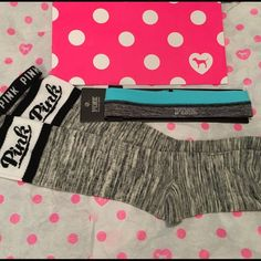 New VS PINK Headband & Knee Socks NWOT VS PINK headband new in package and 1 pair of VS PINK knee socks with Foldover top new without tags. See pictures. No trades. No holds. All offers or (lowest ?'s) please use make offer button only please (reasonable offers).  Thanks for looking & Happy Poshing PINK Victoria's Secret Accessories Hosiery & Socks