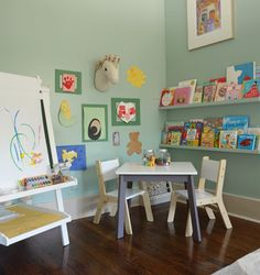 Let the imagination run wild in this art, crafts and reading corner in this kids room!
