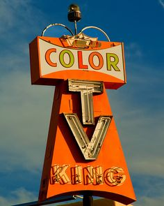 """Color TV King"" - American Graphic 50s/60s Neon Signs."