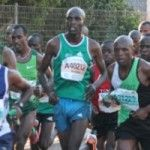 Kenya's Nicksen Kipketer, Old Mutual Delegation sponsored by Adidas SA and fueled by putting on pace in the early stages of the race. Lead Men, Oceans, Marathon, Tank Man, Racing, Adidas, Mens Tops, Running, Marathons