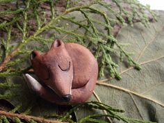 Stoneware Ceramic Sleeping Fox  Pin Hand Sculpted Original, Made to Order