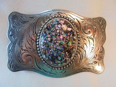 Vintage Nickel Silver Belt Buckle Confetti Lucite Cabochon Southwestern Retro!!! #Unbranded #Vintage