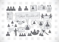 Human resources and management icons in hand drawn style, 69711, Signs, Symbols, Maps,  Download, Royalty free, Vector, eps, clipart, jpg, images, clip art, graphics