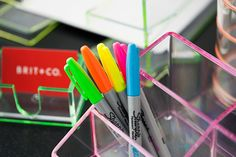 5 Minute DIY: Deck Out Your Desk with Neon! via Brit + Co