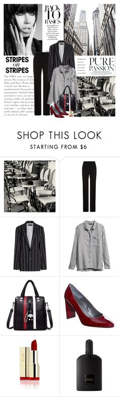 """Pattern Challenge: Stripes on Stripes (Top Fashion Sets for Feb 1st, 2018)"" by dezaval ❤ liked on Polyvore featuring WALL, BOSS Hugo Boss, Haider Ackermann, H&M, Tom Ford and Christian Dior"