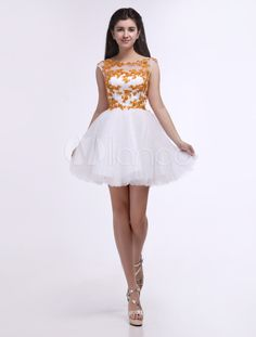 Fashion White Jewel Neck Applique A-line Tulle Short Prom Dress