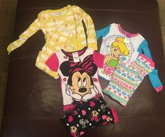 Girl's Sz 5 Minnie Mouse Tinker Bell Disney Pajama Large Lot PJ Play Condition | eBay