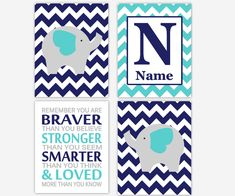Baby Boy Nursery Art Navy Blue Teal Elephant Safari Jungle Zoo Animals Personalize Remember You Are Braver Baby Nursery Decor Elephant Nursery Boy, Baby Girl Nursery Decor, Baby Boy Nurseries, Nursery Wall Art, Personalized Wall Decor, Boy Room, Gifts For Kids, Wall Art Prints, Navy Blue