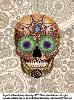 Sugar Skull Bone Paisley - Artist Christopher Beikmann - www.AncientArtiZen.com - This unique and unusual Day of the Dead (Dia De Los Muertos) sugar skull art draws its inspiration from both Mexican folk art and Indian Mehndi designs. Created with a combination of digital photo collage and hand illustration. This ivory sugar skull artwork is available on a wide variety of gifts and accessories including iPhone cases.