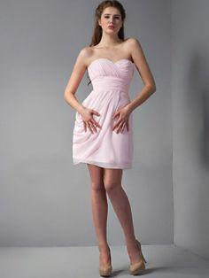 Sheath/Column Strapless Short/Mini Chiffon Silk like Satin Bridesmaid Dress - US$86.99