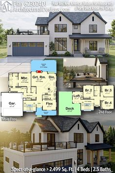 New American Modern Farmhouse House Plan 623024DJ gives you 2500 sq ft of living space with 4 bedrooms and 2.5 baths. AD House Plan #623024DJ #adhouseplans #architecturaldesigns #houseplans #homeplans #floorplans #homeplan #floorplan #houseplan Craftsman House Plans, New House Plans, Modern House Plans, Beautiful Stairs, Deck Party, Flex Room, Beautiful Home Designs, House Blueprints, Modern Farmhouse Style