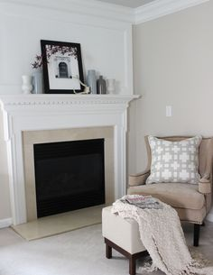 We painted the walls Elmira White [BM]  Which is a great neutral color with no yellow. And the ceiling Alaskan Husky [BM] It is the softest of gray blues.