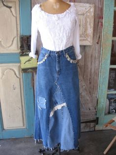 upcycled denim skirts | Recycled reconstructed upcycled denim skirt with vintage lace