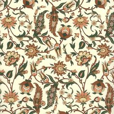 Brown and green jacobean floral print paper ~ rossi italy ~ 2014 Textiles, Textile Patterns, Print Patterns, Textile Prints, Trendy Wallpaper, Print Wallpaper, Folk Art Flowers, Flower Art, Kalamkari Painting